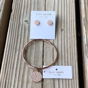 BNWT Kate Spade Rose Gold Crystal Bangle & Earring